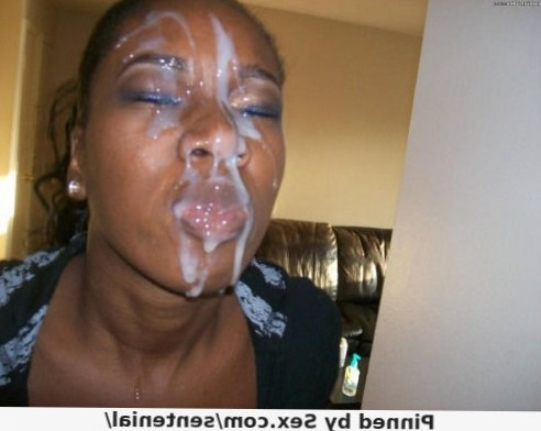 Black chick with cum on her face