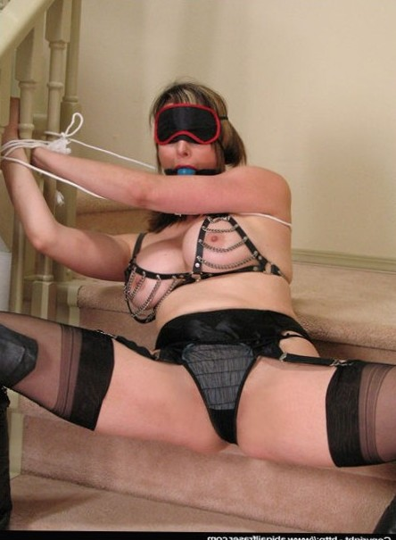 Abigail Fraser tied up in her panties, stockings and blindfold