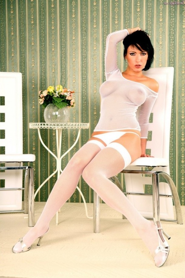 Alexis gets hot in white nylons