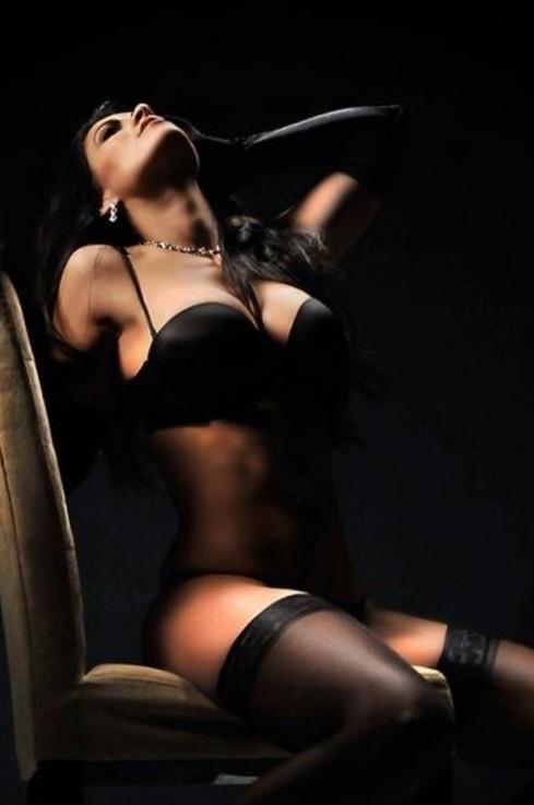 Gorgeous brunette in black